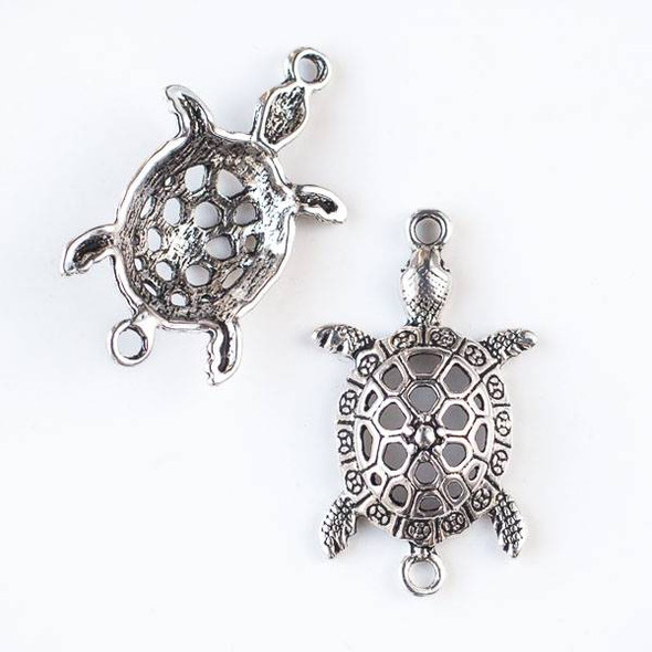 Silver Pewter 24x41mm Sea Turtle Link - 4 per bag