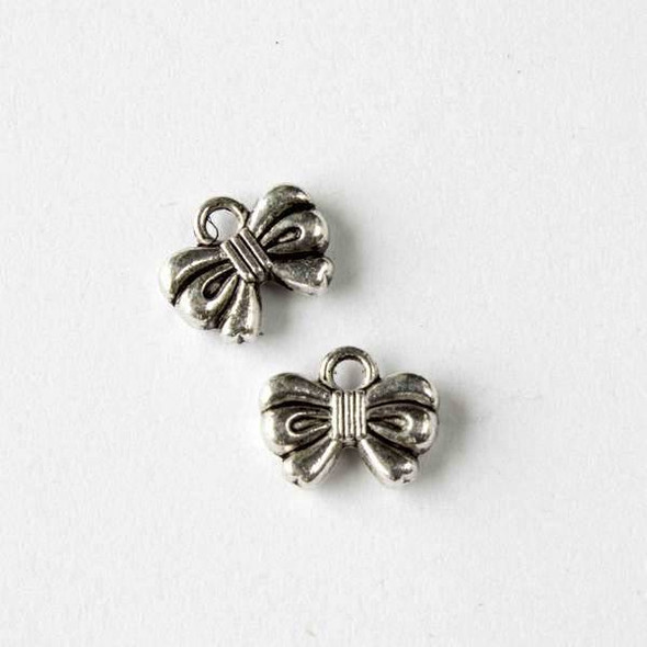 Silver Pewter 10x12mm Bow Charm - 10 per bag