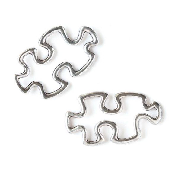 Silver Pewter 17x31mm Puzzle Piece Charm (no loops) - 10 per bag
