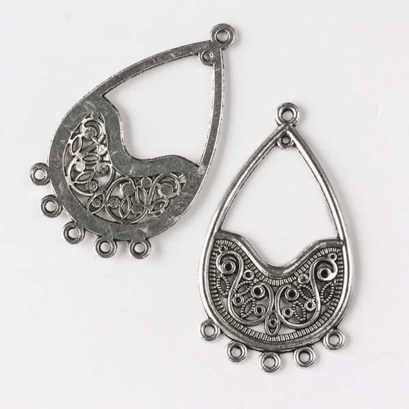Silver Pewter 26x46mm Filigree Teardrop 1:5 Earring Drop - 6 per bag - CTB30050s