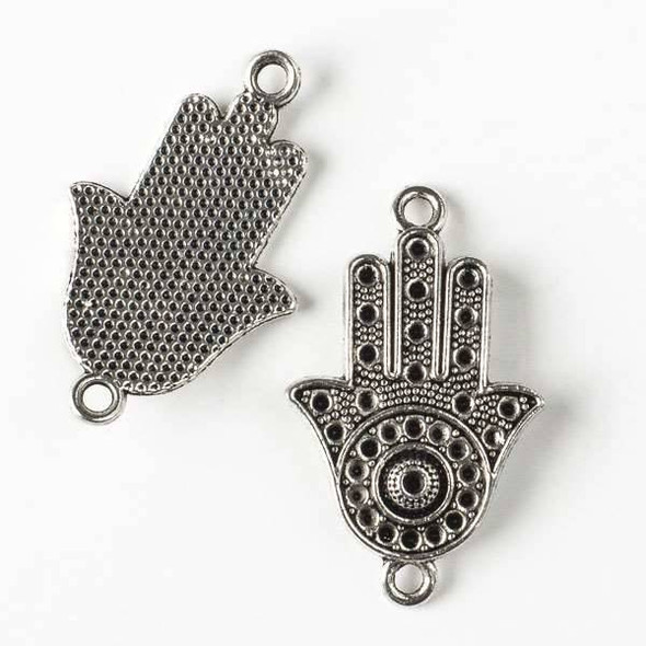 Silver Pewter 22x36mm Hamsa Hand Curved Pendant Link - 8 per bag - CTB30080s