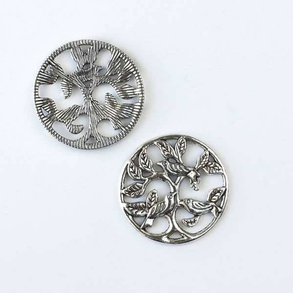 Silver Pewter 33mm Coin Component with 3 Birds in a tree - 4 per bag - CTB30103s