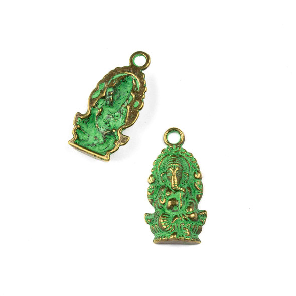 Green Bronze Colored Pewter 14x26mm Ganesh Charm - 10 per bag
