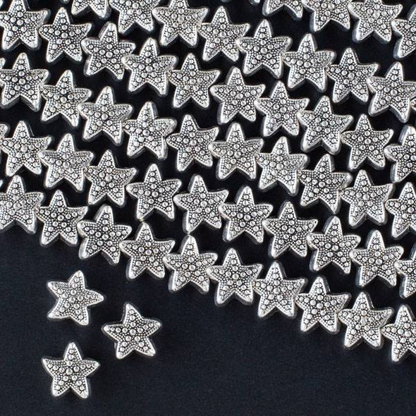Silver Pewter 10mm Star Fish Beads with a 2mm Large Hole - approx. 8 inch strand - CTB32670s