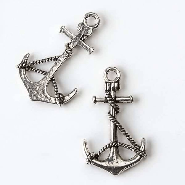Silver Pewter 19x33mm Large Anchor with Rope Charm - 10 per bag