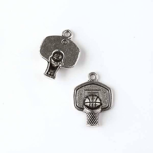Silver Pewter 15x20mm Basketball Hoop Charm - 10 per bag