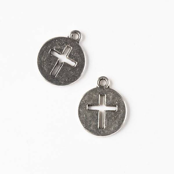 Silver Pewter 14x17mm Coin Charm with Cut Out Cross - 10 per bag