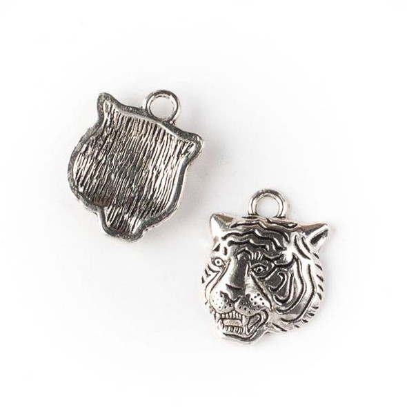 Silver Pewter 17x22mm Tiger Head Charm - 10 per bag
