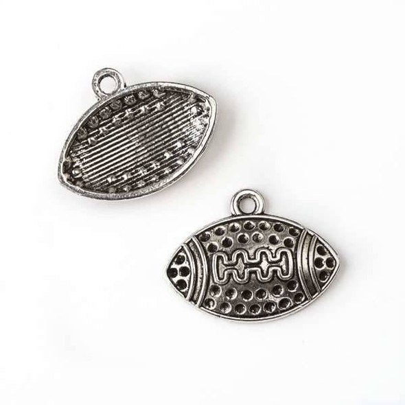 Silver Pewter 18x24mm Football Charm - 10 per bag