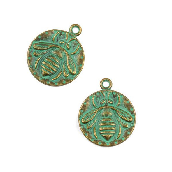 Green Bronze Colored Pewter 20x24mm Bee Charm - 10 per bag