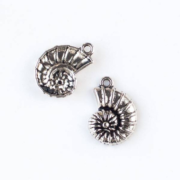 Silver Pewter 15x21mm Ammonite Shell Charm - 10 per bag