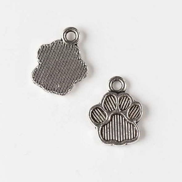 Silver Pewter 12x15mm Paw Print Charm - 10 per bag