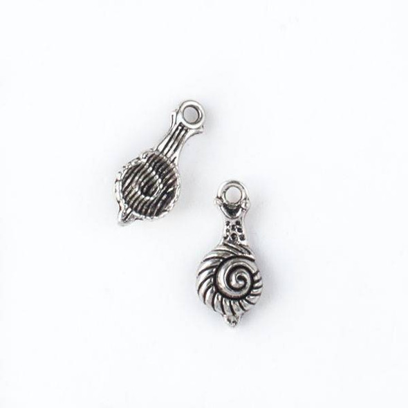 Silver Pewter 7x16mm Snail Charm - 10 per bag
