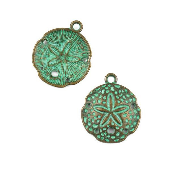 Green Bronze Colored Pewter 21x24mm Sand Dollar Charm - 10 per bag