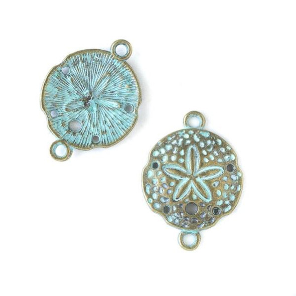 Green Bronze Colored Pewter 21x24mm Sand Dollar Link - 10 per bag