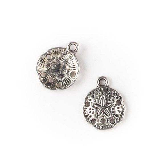 Silver Pewter 12x15mm Small Sand Dollar Charm - 10 per bag