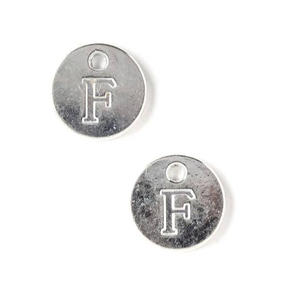 "Silver Pewter 12mm Letter ""F"" Coin Charm - 6 per bag"