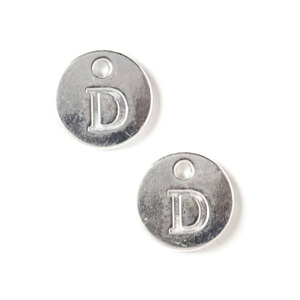 "Silver Pewter 12mm Letter ""D"" Coin Charm - 6 per bag"