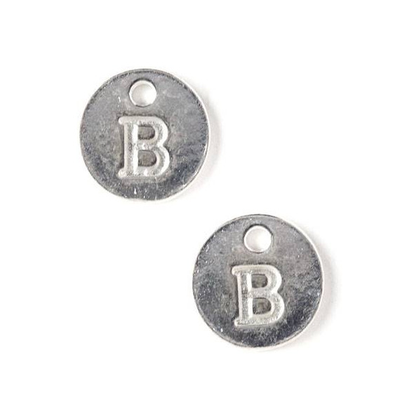 """Silver Pewter 12mm Letter """"B"""" Coin Charm - 6 per bag"""