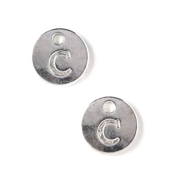"Silver Pewter 12mm Letter ""C"" Coin Charm - 6 per bag"