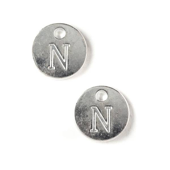 "Silver Pewter 12mm Letter ""N"" Coin Charm - 6 per bag"