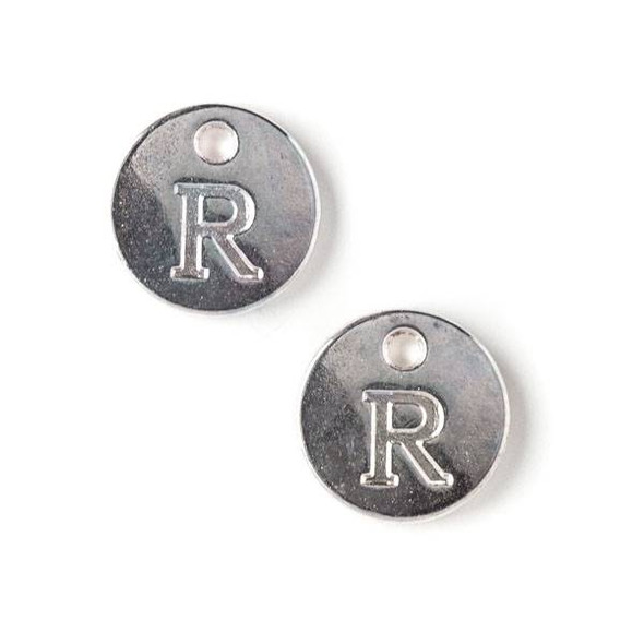 "Silver Pewter 12mm Letter ""R"" Coin Charm - 6 per bag"