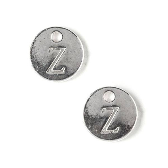 "Silver Pewter 12mm Letter ""Z"" Coin Charm - 6 per bag"