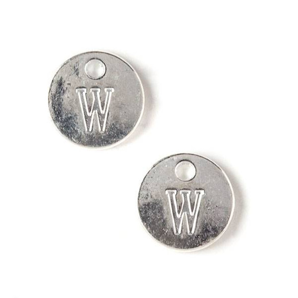 """Silver Pewter 12mm Letter """"W"""" Coin Charm - 6 per bag"""