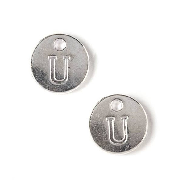 """Silver Pewter 12mm Letter """"U"""" Coin Charm - 6 per bag"""