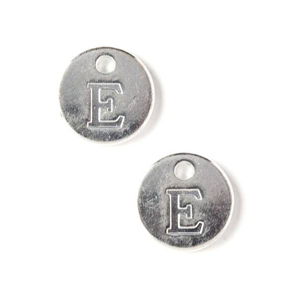 "Silver Pewter 12mm Letter ""E"" Coin Charm - 6 per bag"
