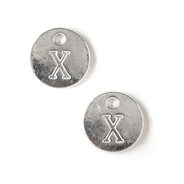 "Silver Pewter 12mm Letter ""X"" Coin Charm - 6 per bag"