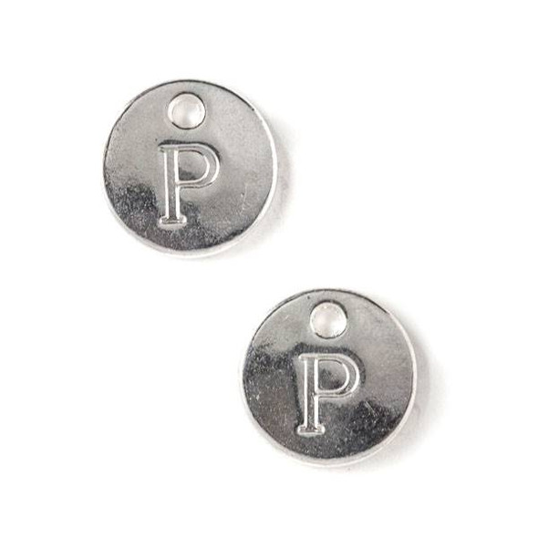 "Silver Pewter 12mm Letter ""P"" Coin Charm - 6 per bag"