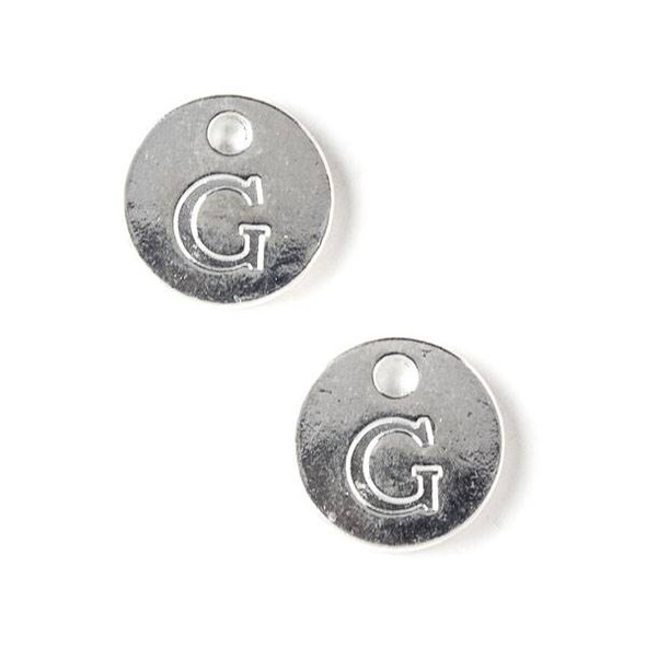 "Silver Pewter 12mm Letter ""G"" Coin Charm - 6 per bag"