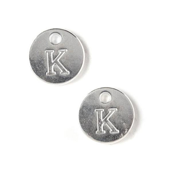 "Silver Pewter 12mm Letter ""K"" Coin Charm - 6 per bag"