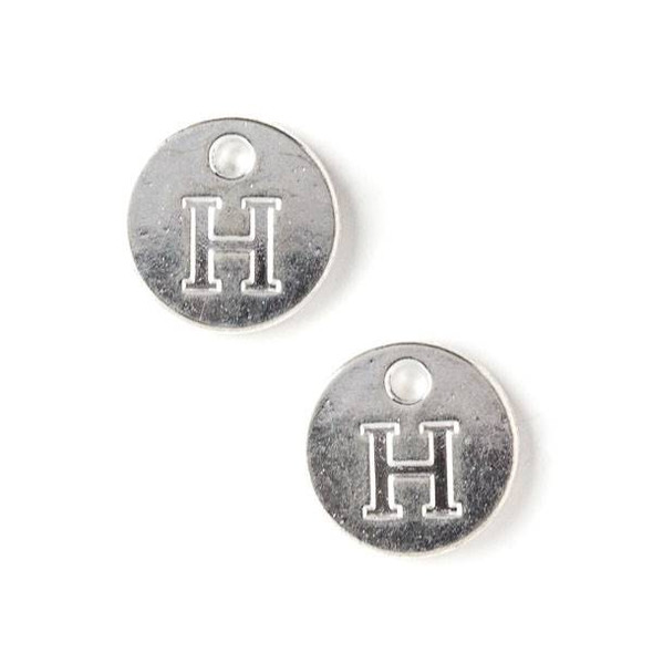 """Silver Pewter 12mm Letter """"H"""" Coin Charm - 6 per bag"""