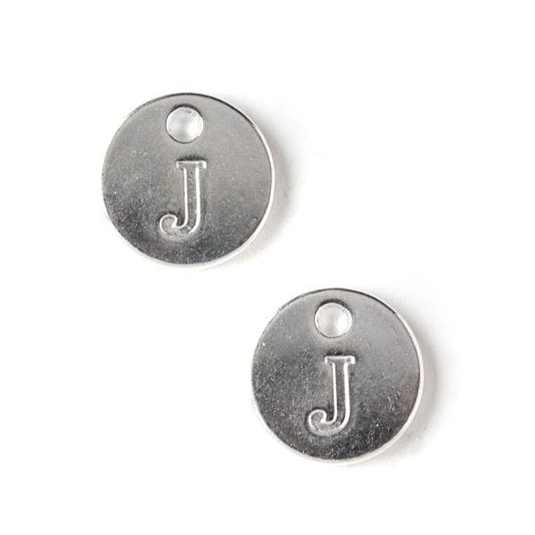 "Silver Pewter 12mm Letter ""J"" Coin Charm - 6 per bag"