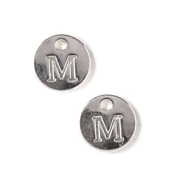 "Silver Pewter 12mm Letter ""M"" Coin Charm - 6 per bag"