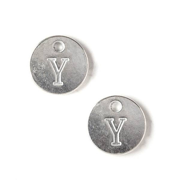 "Silver Pewter 12mm Letter ""Y"" Coin Charm - 6 per bag"
