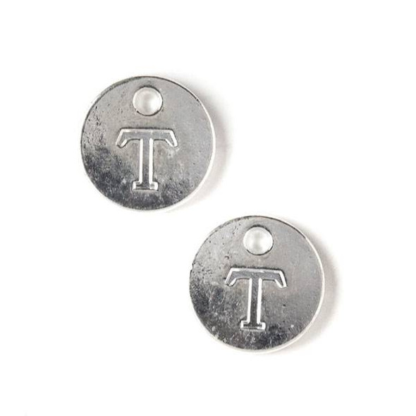 "Silver Pewter 12mm Letter ""T"" Coin Charm - 6 per bag"