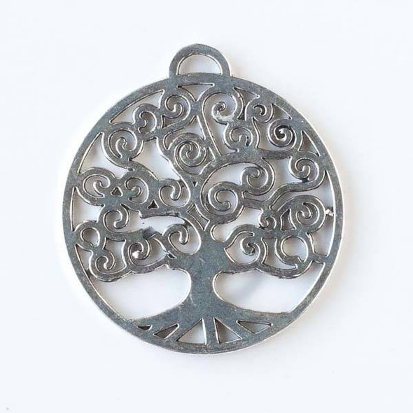 Silver Pewter 43x47mm Coin Shaped Tree of Life Pendant - 4 per bag