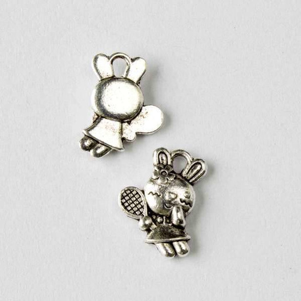 Silver Pewter 11x16mm Girl Rabbit with Tennis Racket Charm - 10 per bag