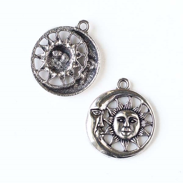 Silver Pewter 26x30mm Moon and Sun Pendant - 10 per bag