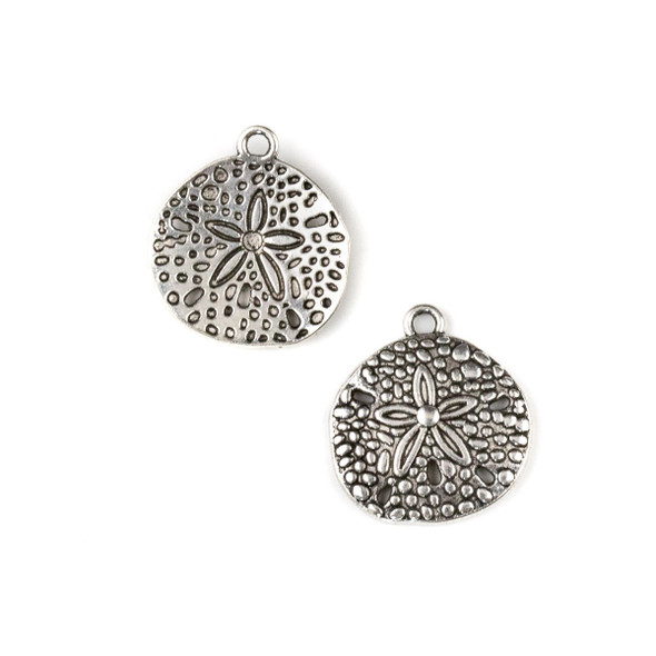 Silver Pewter 18x20mm Sand Dollar Double Sided Beach Charm - 2 per bag