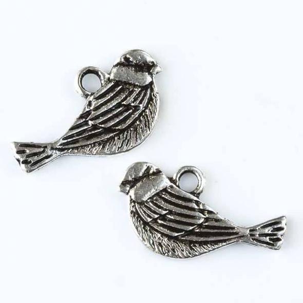Silver Pewter 12x20mm Sparrow Bird Charm - 10 per bag