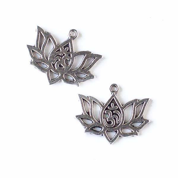 Silver Pewter 16x20mm Om Lotus Flower Charm - 10 per bag