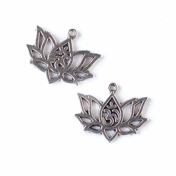 Silver Pewter 16x20mm Om Lotus Flower Charm - 10 per bag