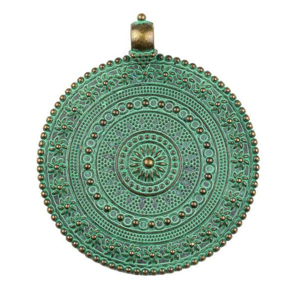 Green Bronze Colored Pewter 63x76mm Large Medallion Pendant - 1 per bag