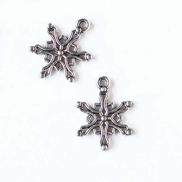 Silver Pewter 15x19mm Snowflake Charm - 10 per bag