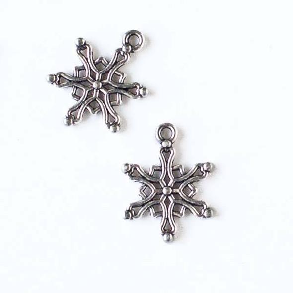Silver Pewter 15x19mm Snowflake Charm - 10 per bag