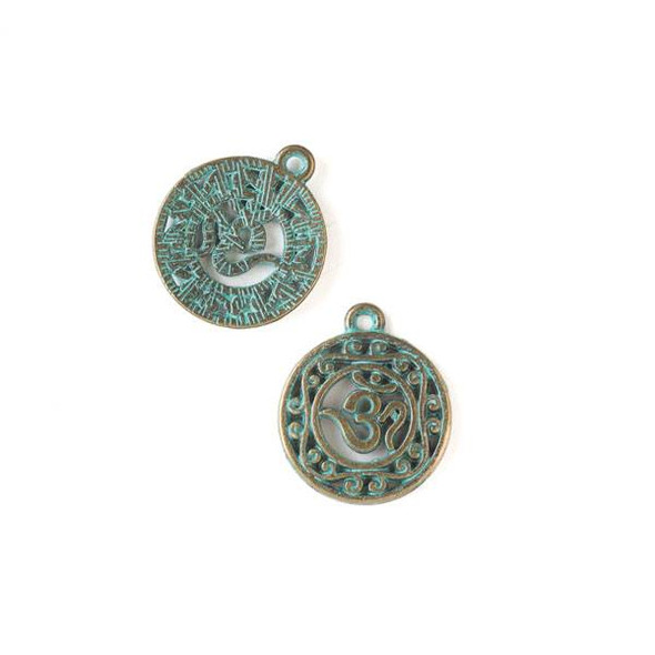 Green Bronze Colored Pewter 19x22mm Ohm Coin Charm - 10 per bag
